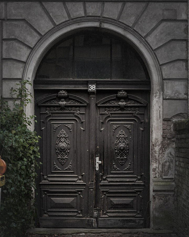 Tür mit Ornamenten in der Gregor-Mendel-Straße