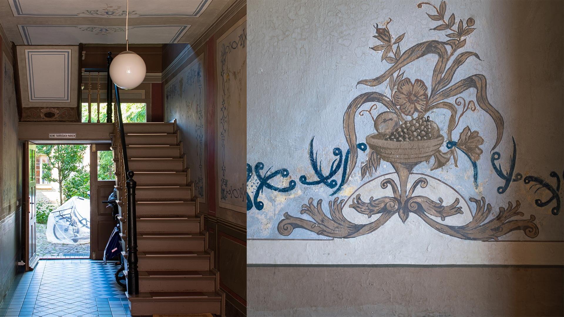 Malerei an Wand im Hausflur